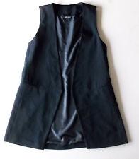 Ladies NEW LOOK Waistcoat Size 8 Black lined Longer length EMP2
