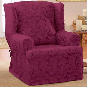 Sure Fit Scroll - Wing Chair Slipcover - Burgundy new