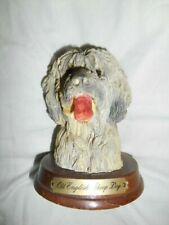 Vtg. Ron Gordon Designs1988 Old English Sheepdog Head On A Wood Base Vguc