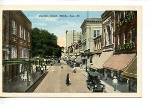 Dauphin Street Scene-Stores-Old Car-Mobile-Alabama-Vintage Postcard