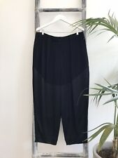 Country Road Black Relaxed Fit Pants with Contrast Satin Panels - Size 14