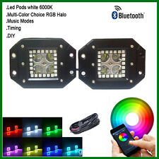 Pair CREE Flush Mount Cube Pods with RGB Halo Multicolor Music Flash Bluetooth
