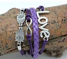 Love Infinity Owl Multilayer Purple and Silver Bracelet