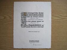 Urkunde Evangelische Kirche d.altpreißischen Union d.Ehegedenkmünze Münster