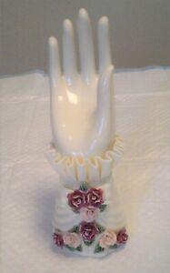 Vintage Porcelain Hand Ring Jewelry Holder Figural Purple Floral Display 8'' EUC