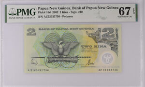 Papua New Guinea 2 KINA 2002 P 16 d Sign 10 Superb GEM UNC PMG 67 EPQ