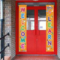 KQ_ 2Pcs Back To School Welcome Couplet Banner Door Wall Hanging Sign Flag Charm