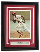 Lou Brock Signed Framed 8x10 St. Louis Cardinals Baseball Photo BAS