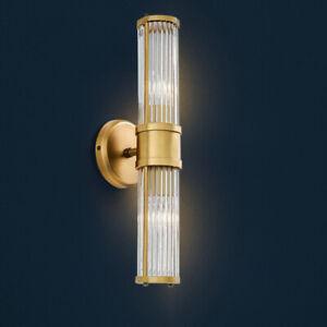 Modern Brass Glass Wall Lamp Crystal LED Wall Sconce Bedside Lighting Home Light