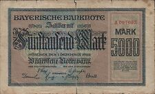 Germany  5000  Mark   Munchen  1.12.1922  prefix A  Circulated Banknote