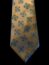 Christian Dior Monsieur Geometric Print Brown Blue Men's Vintage Neck Tie