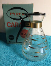 Vintage Pyrex Ware 8 Cup Glass Carafe Pitcher Gold Design 4608A
