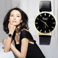 Womens Lady Fashion Geneva Watch Roman Leather Band Analog Quartz Wrist Watches