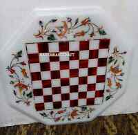 "15"" Marble Chess Table Top Carnelian Inlay Marquetry Childrens Room Decors H2831"