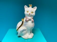 🌸 Ladies White Pink Bow Cat Gold Tone Magnetic Trinket Gift Box  (W13) NWOT 🌸