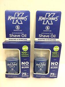 2x King of Shaves - Sensitive Advanced Shave Shaving Oil For Men 20ml NEW!