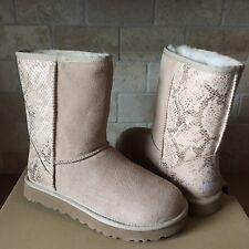 UGG Classic Short Metallic Snake Sand Beig Gold Suede Fur Boots Size US 10 Women