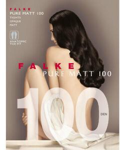 Falke 40110 Feinstrumpfhose Strumpfhose - Pure Matt 100 - Gr: S/M Steel / Grau