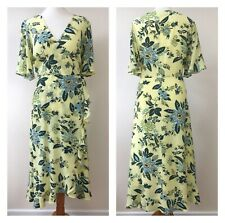 Lemon Tea Dress Frill Ruffle Wrap Wedding Floral Occasion Autumn BNWT Size 16