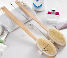 Shower Brush Boar Bristles Exfoliating Body Massager with Long Wooden Handle