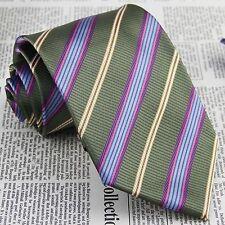 Men Green Blue Stripes Tie 100% Silk Jacquard Woven Formal Meeting Necktie JP112