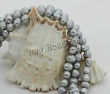 8mm Baroque Grey Natural Cultured Freshwater Pearl Loose Beads Wholesale 15""