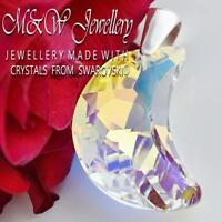 925 Sterling Silver Large Pendant Crystals from Swarovski® MOON 30mm CRYSTAL AB