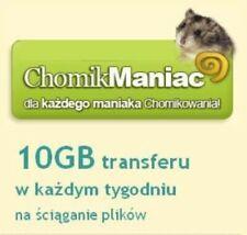 Aktywacja abonament Chomik Maniac 10GB/tydz. na 3 miesiące