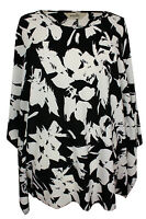 New Emily Ladies Black White Floral Print Lace Batwing Plus Size Tunic Top