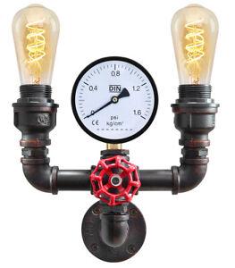 Vintage Industrial Rustic Twin Waterpipe Wall Light Metal Gauge Lamp M0190