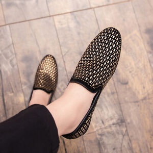Mens Pumps Loafers Rhinestone Slip On Flat Party Leather Dress Shoes Nightclub