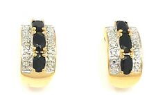 Sapphire Diamond Earrings Studs 925 Silver Gold Plated Sterling Silver
