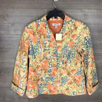 Coldwater Creek Women's Size 14P Petite Floral Watercolor Blazer Jacket NEW