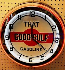 """18"""" That GOOD GULF Gasoline Motor Oil Gas Station Sign Double Neon Clock"""