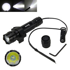 Tactical 5000Lm XM-L T6 LED WF-501B Flashlight Rifle+Rail Mount +Pressure Switch