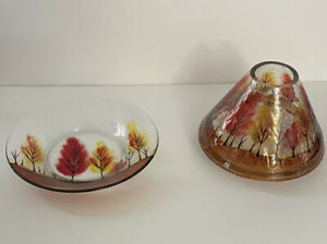 Yankee Candle Autumn Leaves Crackle Glass Shade and Plate