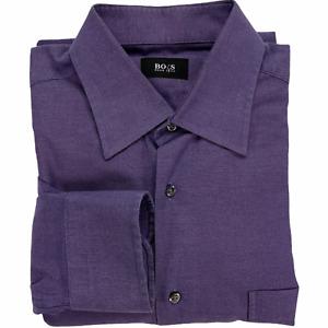 Hugo Boss Dress Shirt Purple Oxford Solid Long Sleeve Men 16 34/35 Pocket Cotton
