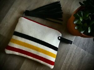 Leather Clutch  Bag  Purse  Made with Pendleton Fabric  Wristlet