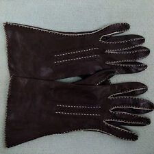 Vtg Kinid Table Cut Contrast Stitch Women's Brown Leather Driving Gloves 6 3/4