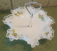 FENTON SIGNED SILVERCREST Ruffled WHITE Milk Glass HANDLED CANDY NUT DISH HP