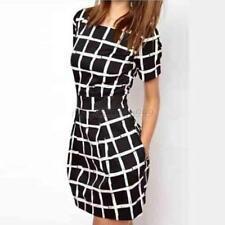 Women Fashion Short Sleeve Crew-Neck Slim Casual Bodycon Pencil Mini Dress  C50