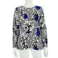 Christopher & Banks Petite Black White Blue Floral Stripe Long Sleeve Top Sz M