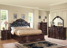 Formal Luxury Antique Veradisia Cherry Cal King Size 4Pc Bedroom Set Furniture