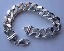 STERLING SILVER VERY VERY BIG BRACLET 9 INCHES CURB 120g..UNUSED