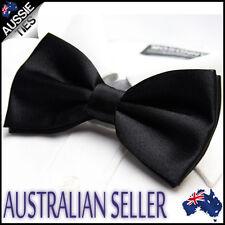 MENS QUALITY BLACK BOW TIE Bowtie Pre-tied wedding bowtie solid plain men's