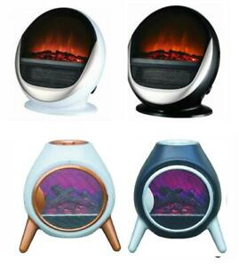 Oval Log Flame Effect Electric Fire Fireplace Free Standing Portable 1.5Kw 1.8Kw