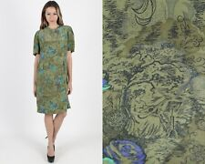 Vintage 80s Victorian Floral Dress Olive Silk Cocktail Party Secretary Mini