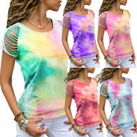 Womens Summer Cold Shoulder Tie-dye Top Tunic Short Sleeve Blouse T-Shirt Tees