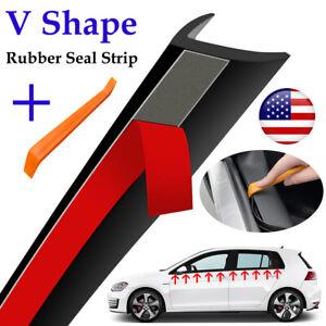 Car V-Type Rubber Trim Edge Seal Strip Front/Rear Side Windows Noise Insulation