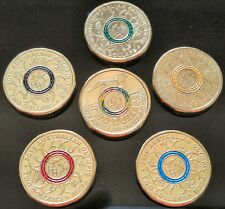 2016 $2 Olympic Coins - Coloured RED BLACK BLUE YELLOW GREEN from woolworths